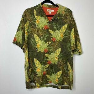 Tommy Bahama Silk Shirt Hawiian Floral Green Men